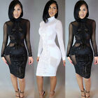 Women's Sexy Bodycon Long Sleeve Evening Party Cocktail Club Short Mini Dress