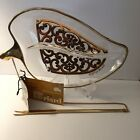 Vintage Georges Briard Glassware Gold Trim Leaf Dish w/Fork Chain Signed Label