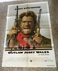 THE OUTLAW JOSEY WALES ORIGINAL MOVIE POSTER CLINT EASTWOOD ONE SHEET