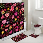 Valentine's Day Doodle Love Shower Curtain Toilet Cover Rug Bath Mat Contour Rug