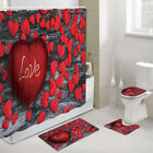Love and Red Hearts Shower Curtain Toilet Cover Rug Bath Mat Contour Rug Set