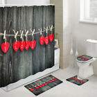 Red Heart Shaped Note Shower Curtain Toilet Cover Rug Bath Mat Contour Rug Set