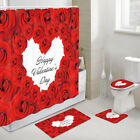 Valentine's Day Red Rose Shower Curtain Toilet Cover Rug Bath Mat Contour Rug