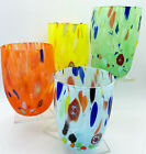 ARLECCHINO MURANO STEMLESS WINE OLD FASHIONED GLASSES SET OF 4 PASTEL