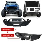 Front Rear Bumper w Work Light Bar  Hitch Receiver For Jeep Wrangler JK 07 18