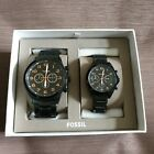 Fossil His and Her Chronograph Black Stainless Steel Watch Gift Set BQ2278