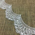 Scalloped Beaded Lace Trim Embroidered Hand Beaded Sequined Organza White