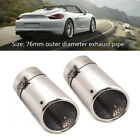 2x76MM Stainless Car Rear Round Exhaust Pipe Tail Muffler Tips System W buckle