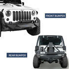 Hooke Road Front Bumper Rear Bumper w Tire Carrier for Jeep Wrangler JK 07 18
