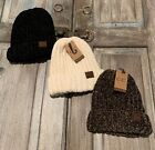 C.C Chunky Ribbed Chenille Soft Warm Stretchy Thick Cuffed Knit Beanie Cap Hat