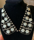 Stunning Vintage Collar Like PearlsRhinestones Blak And White Necklace