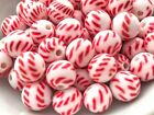 Vintage Japan round glass beads 8mm white red candy cane Christmas stripes 24pcs