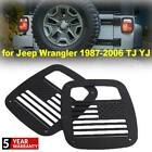 Flag Tail Light Cover Grille Panel Black Style For Jeep Wrangler TJ YJ 1987-2006