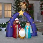 Outdoor Christmas Pre lit Inflatable Airblown 6 ft Nativity Metallic Fuzzy Scene