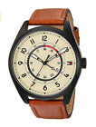 TOMMY HILFIGER Men's 44mm Cream Dial Brown Leather Strap 24 Hour Watch 1791372