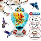 REZIPO Hummingbird Feeder with Perch Hand Blown Glass+Hanging Wires