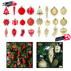 Set of 72 Assorted Hanging Christmas Ornaments Shatterproof Handcrafted Decor