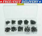 500pcs Fish Jig Hooks with Hole Fishing Tackle Box 10 Sizes Carbon Steel