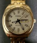 Men's Fossil Blue AM-3921 Gold Tone Watch With Day & Date New Battery
