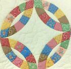 Exquisite Hand Stitched Quilt Double Wedding Ring Pastels 84 x 84
