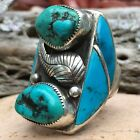 HUGE NATIVE AMERICAN NAVAJO STERLING SILVER TURQUOISE CHUNKY RING SZ 85 WOW