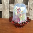 Fenton Glass Handpainted Fairy Light Candle Holder Ruby French Opal Frostberries