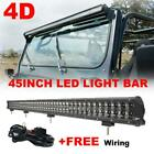 4D Style 45 288W Straight LED Working Light Bar Flood Combo for Jeep JK Ford