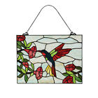 River of Goods Hummingbird  Flower Stained Glass Panel Art Glass Sun Catcher