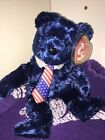 2002 Retired TY Beanie Babies Pops Blue Bear American Patriotic Military Gift