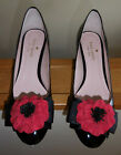 KATE SPADE MILFORD SEQUINNED HEEL BLACK PUMP WITH POPPY EMBELLISHMENT SZ 8