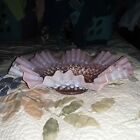 Vintage Fenton Cranberry Ruffled Hobnail pink opalescent large bowl with tag