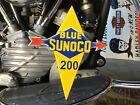 VINTAGE PORCELAIN BLUE SUNOCO GAS DOOR SIGN Ford Harley Chevy Dodge