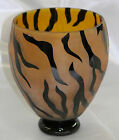 Correia Art Glass Signed  Numbered Limited Edition 2005 Tiger Patter Vase 8