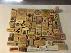 LOT of 49 Rubber Wood Mounted Stamps Mixed Themes Birthday Holiday Few Foam