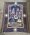 Vintage Nativity Christmas Tapestry Throw Blanket Goodwin Weavers 100 Cotton