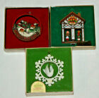 3 Hallmark Collection Ornaments 1976 Peace on Earth 1977 Swiss House 1978 Dove