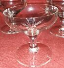 Set of 3 ~ Vintage Clear Glass Ice Cream / Sherbet Cup Dish with Starbursts