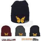 NEW Monarch Large Butterfly Embroidered Cuffed Beanie Skully Knit Hat Winter Cap
