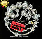 Pandora Bracelet Silver White Key to Heart LOVE STORY with European Charms