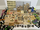 189 Lot Rubber Stamp Vintage Stampin Up Mixed Wooden Foam Flowers Trains Letter
