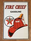 TEXACO Fire Chief Gasoline with Red Firefighter Helmet Enameled Metal Sign