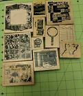Used Lot Of 11 Retired Club Scrap Rubber Stamps Mounted on Wood Pics