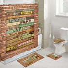 Wall Wood Notice Board Shower Curtain Toilet Cover Rug Bath Mat Contour Rug Set