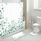 Branches and Green Leaves Shower Curtain Toilet Cover Rug Bath Mat Contour Rug