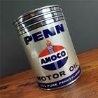 RARE Vintage 1940'S NOS FULL 1 QT. AMOCO PENN w/ torch METAL MOTOR OIL CAN