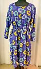 Gudrun Sjoden Daisy Dress Size XL Gently Used Blue Yellow Green Linen Cotton