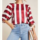 NEW Anthropologie MAEVE Red White Striped Holiday Satiny Top SIZE 14 NWT