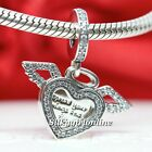 Authentic Pandora Silver Heart and Angel Wings 798485C01 Charm