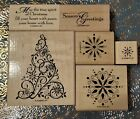 Stampin Up Wood Mount SNOW SWIRLED Christmas Tree Snow flakes RETIRED