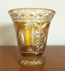 Vtg Bohemian Amber Yellow Cut to Clear Crystal Glass Footed 6 Vase Sunbursts